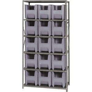 Quantum Storage Giant Hopper Bins W shelf Unit 36inwx18indx75inh Rack Size Gray