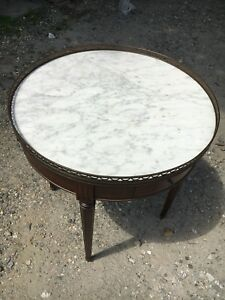 Early 20 C French Side Table W Pierced Brass Gallery Marble Top