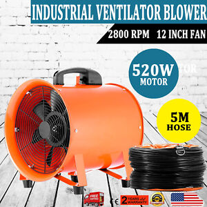 12 Extractor Fan Blower Ventilator 5m Duct Hose Axial Motor Utility Air Mover