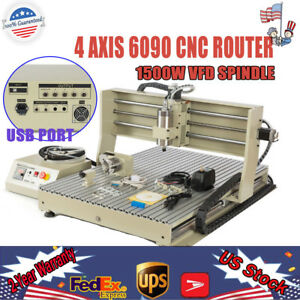 4 Axis Usb Cnc 6090 Router 1500w Vfd Metal Engravering Machine 3d Carving Cutter