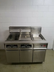 Frymaster Fmh250csc Deep Fat Fryer 2 Bank 1 Dump Station Tested No Filter 120v