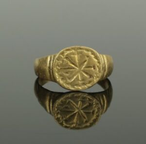 Ancient Roman Gold Chi Rho Inscribed Ring Circa 2nd C Ad