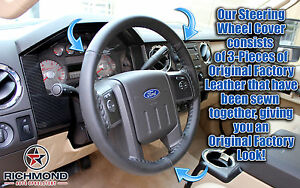 2008 Ford F250 F350 Harley davidson leather Wrap Steering Wheel Cover Black