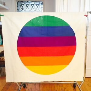 Vtg 1970s Retro Art Mid Century Modern Wall Hanging Rainbow Canvas Textile