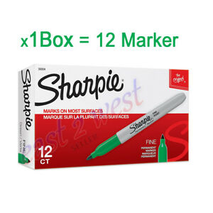 12 Sharpie 30004 Fine Point Permanent Markers Green Color