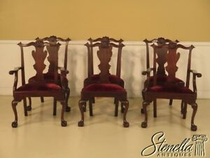 L42865e Set Of 6 Henkel Harris Mahogany Dining Room Chairs W Ball