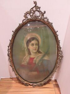 Large Antique Gold Metal Convex Bubble Glass Frame With Saint Lucie 24 X 15