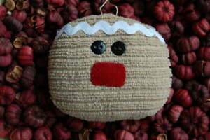 Primitive Christmas Terry Gingerbread Face Ornament Ornie