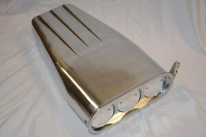 20 Polished Aluminum 4bbl Butterfly Finned Hood Scoop Street Hot Rat Rod
