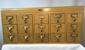 Gaylord Brothers Vintage 15 Drawer Library Card Catalog Cabinet 1950 S