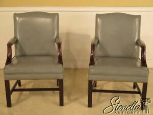43035 Pair Chippendale High Quality Leather Open Arm Library Chairs