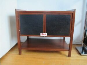 Vintage Mid Century Danish Modern Walnut Leather Compact Cabinet Bench Table