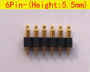 6pin 5 5mm Height Spring Loaded Pin Pogo Pin Connector Contact Pin For Pcb 30pcs