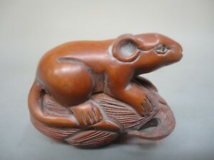 Collect Ornament Asian Japan Old Hand Carved Delicate Boxwood Mouse Corn Pendant