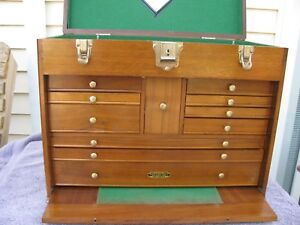 W 42 Gerstner Usa Walnut Wood Machinist Tool Chest Box