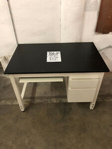 Compact Metal Lab Desk With Drawers And Epoxy Top 4 x30 x3 h
