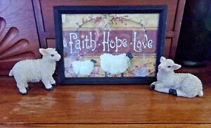 Primitive Picture Faith Hope Love With 2 Baby Sheep