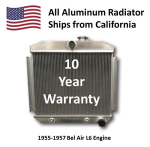 Aluminum Radiator For 1955 1957 Chevy Bel air L6 With Trans Cooler Bel Air