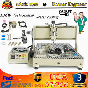 Usb 4axis 6090 Cnc Router Engraver Drilling Machine Metal Cutter 2 2kw Spindle