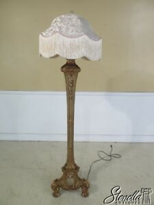 42901 Vintage Italian Style Carved Wood Floor Lamp