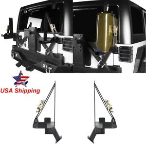 Pair Spare Tire Jerry Can Oil Drum Mount Brackets For Jeep Wrangler Jk 2007 2018