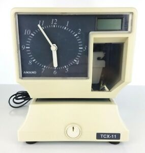 Amano Model Tcx 11 Electronic Time Card Clock Analog Dial Digital Lcd Display