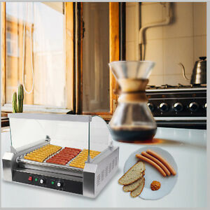 Us Commercial 30 Hot Dog Machine Hotdog 11 Roller Grill Cooker Machine W Cover