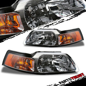 1999 2004 Ford Mustang Factory Style Chrome Headlights Pair 2000 2001 2002 2003