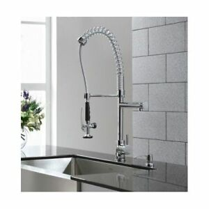 Kitchen Sink Faucet Single Handle Pull Down Swivel Spout Spray Commercial Style