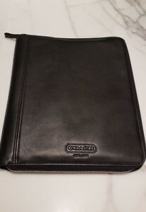 Coach Leather Embossed Zip Business Portfolio Black Fs1805