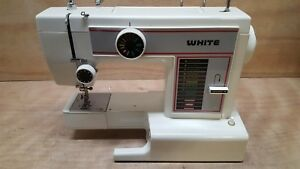 Vintage White Sewing Machine Model 1407 Nice Condition No Ac Cord Untested