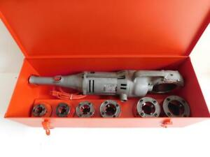 Ridgid 700 Pipe Threader Threading Machine With 6 Dies 1 2 To 2 And Metal Case
