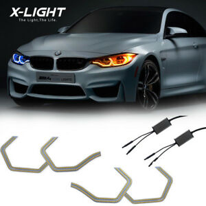 4pc Dual color Concept M4 Iconic Style Led Angel Eye Kit W relay Wirings For Bmw