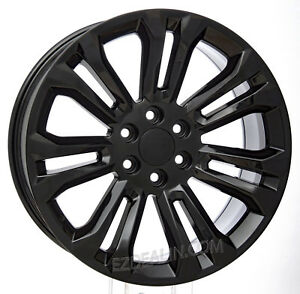 Gmc Gloss Black 22 Split Spoke Wheels Rims For 2000 2019 Sierra Yukon Denali