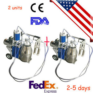 2x Us Seller Milker Electric Vacuum Pump Milking Machine 25l Bucket Farm Cows Ce