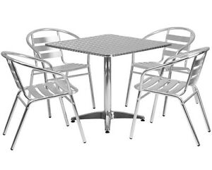 31 5 Square Restaurant cafe bar Indoor outdoor Aluminum Table With 4 Chairs