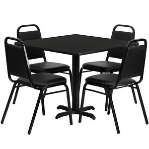 Set Of 10 Square Restaurant cafe bar Black Finish Table 36 And Four Chairs