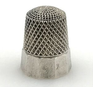 Antique Simon Brothers 925 Sterling Silver Hammered Sewing Thimble Size 8