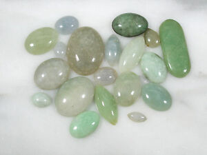 Vtg Type A Jadeite Jade Cabochon Lot Shades Green Ice 19 Pc 87 5 Cts Chinese Old