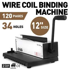 Steel Manual Spiral Coil Binding Machine 34 Holes Puncher Office Binder Punching