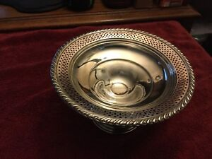 Columbia Sterling Silver Compote Candy Dish Pierced 3 3 4 Tall By 6 1 4 Wide