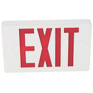 Exit Sign Lighted With Illuminated Double Face Red Letters And Battery Backup