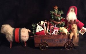 Handmade Primitive Santa Doll In An Old Cheese Box With Reindeer
