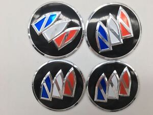 4 For Buick Rim Wheel Cover Center Cap Hubcap 65mm Tri Shield Badge Logo Emblems
