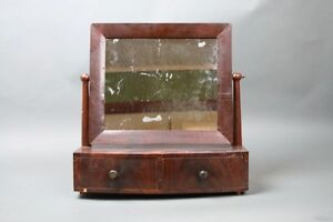 Antique Shaving Mirror Wood Stand Swing Mirror 2 Drawers