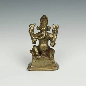 Antique Brass Pilgrimage Figure Ganesh India Hinduism Buddhism 19th Century