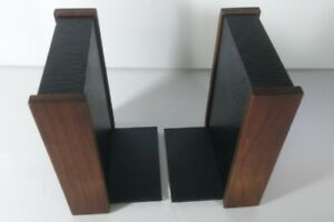 Mid Century Modern Walnut Faux Leather Bookends Pair