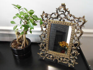 Vtg Victorian Tabletop Brass Mirror Frame Ornate W Easel Stand 14 1 2 Tall