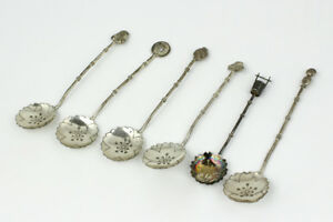 Sterling Silver Japanese Demitasse Spoon Set Of 6 All W Different Designs