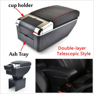 Universal Double layer Telescopic Style Car Central Armrest Box With Cup Holder